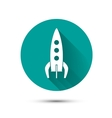Spaceship icon on green background with shadow vector image vector image