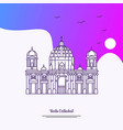 travel berlin cathedral poster template purple vector image