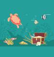 underwater scene with pirate treasure vector image vector image