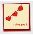 Valentines day card with hearts and words of love vector image vector image