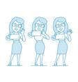 woman office worker makes selfie vector image