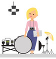 woman photographer with studio equipment vector image