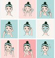 womans face with different facial treatments vector image