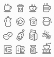 Coffee symbol line icon set vector image