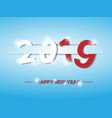 2019 happy new year text design with shadows and vector image