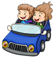 A boy and a girl riding a car vector image vector image