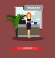 airport concept in flat style vector image vector image