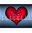 angry heart on blue with cardio line vector image