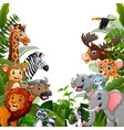 animals forest cartoons meet together vector image vector image