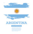 argentina flag with brush strokes independence day vector image vector image