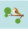 bird on branch icon in flat design vector image vector image