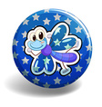 Blue dragonfly on round badge vector image vector image
