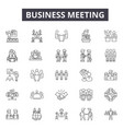 business meeting line icons for web and mobile vector image vector image