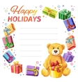 Card Happy holidays frame of gifts and Teddy Bear vector image vector image