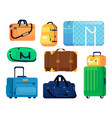 cartoon handle luggage icon on white background vector image