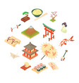 china traditional culture icons set cartoon style vector image vector image