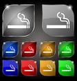 cigarette smoke icon sign Set of ten colorful vector image