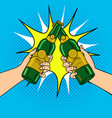 clink beer bottles pop art vector image vector image