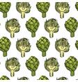 coloured artichoke seamless natural pattern vector image vector image