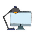 computer and desk lamp icon vector image vector image