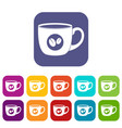 cup of coffee icons set flat vector image