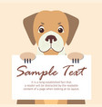 cute dog holding banner with sample text vector image vector image