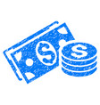 dollar cash grunge icon vector image vector image