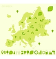 Europe high detailed map ecology green flat icons vector image vector image