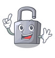 finger new metal padlock isolated on mascot vector image