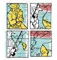 fishing poster set vector image vector image