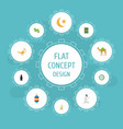 flat icons praying man new lunar genie and other vector image vector image