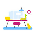 flat style design of abstract workplace office vector image
