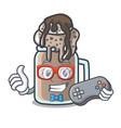 gamer milkshake mascot cartoon style vector image vector image