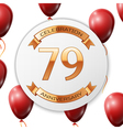 Golden number seventy nine years anniversary vector image vector image