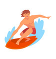 guy surfer character in shorts riding on ocean vector image vector image