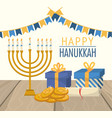 happy hanukkah celebration with party flags vector image vector image