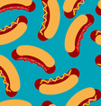 Hot dog pattern Sausage roll and seamless ornament vector image vector image