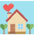 House of love in pixel style vector image vector image