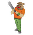 humanoid dog with a baseball bat vector image vector image