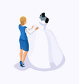 isometric is a set of tailors sewing wedding dress vector image vector image