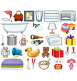 large set household items and many toys on vector image