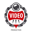 logo emblem of the lens and videotapes vector image