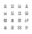 network connection and hosting icon set in thin vector image