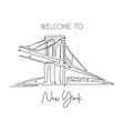 one continuous line drawing brooklyn bridge vector image vector image