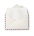 Opened air mail envelope with white paper inside vector image vector image
