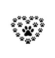 pet paw love logo vector image vector image