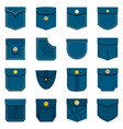 pocket types icons set in flat style vector image vector image
