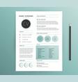 resume cv template design - nature feel green vector image vector image