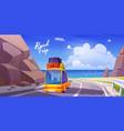 road trip summer vacation holidays travel car vector image vector image