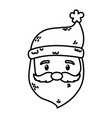 santa claus face character merry christmas thick vector image vector image